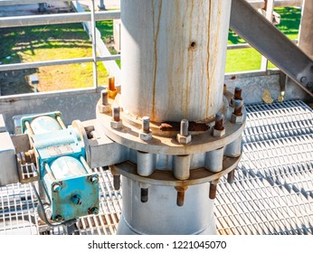 coupling with heavy metal flange, with large screws and bolts on industrial pipe line