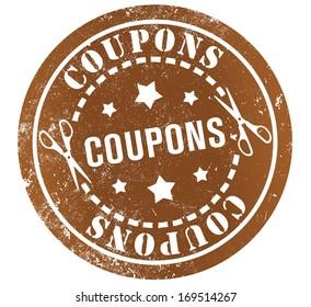 coupons grunge stamp, in english language