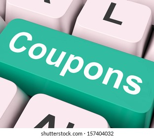 Coupons Key On Keyboard Meaning Voucher Token Or Slip