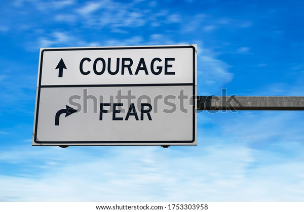 Courage versus fear. White two street signs with arrow on metal pole. Directional road. Crossroads Road Sign, Two Arrow. Blue sky background.