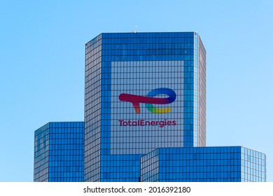 Courbevoie, France, July 29, 2021:  Exterior view of the tower housing the headquarters of the oil company TotalEnergies, formerly known as Total