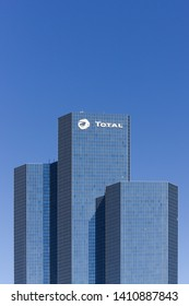 Courbevoie , France - March 8, 2010: Total headquarters building at la Defense. Total is a french multinational integrated oil and gas company and one of the six supermajor oil companies in the world
