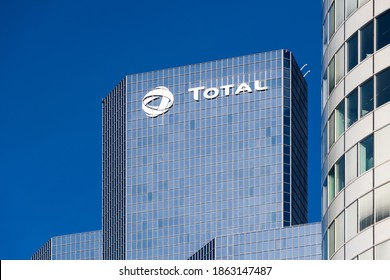 Courbevoie, France, November 12, 2020: Exterior view of the Total Coupole tower, housing the head office of the oil company Total, and located in the business district of Paris La Défense