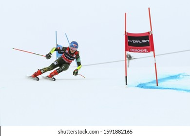 Courchevel, France, Dec 17 2019 Mikaela Shiffrin of USA competing in the Audi FIS World Cup 2019/20 Womens Giant Slalom