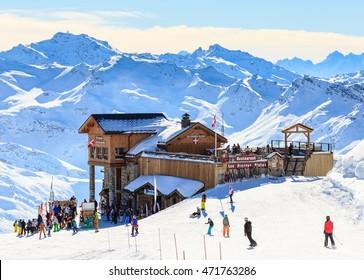 COURCHEVEL, FRANCE - JAN 29, 2016: View of snow covered Courchevel slope in French Alps. Ski Resort Courchevel