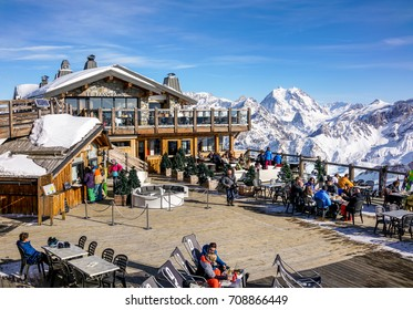 COURCHEVEL, FRANCE - JANUARY 24, 2017 : Panoramic outdoor restaurant on the top station of ski resort Courchevel, France.