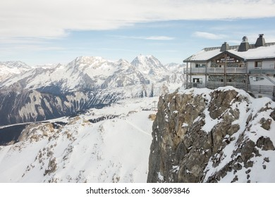 COURCHEVEL/MERIBEL  FRANCE - 29 DECEMBER 2015: 'Le Panoramic' mountain top restaurant, on top of Saulire and accessible by lift from Courchevel and Meribel in the French Alps