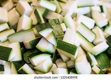 Courgette or Zucchini Chopped Cubes . close up