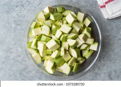 Courgette / Zucchini Chopped Cubes in Glass Bowl.