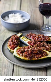 Courgettes stuffed with spicy mince lamb and tomato sauce