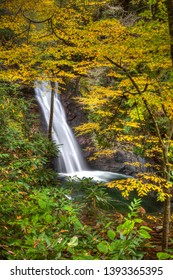 Courhouse falls surrounded by yellow fall folliage in North Caro