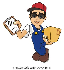 courier boy in black sunglasses
