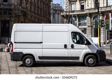 Courier express white van
