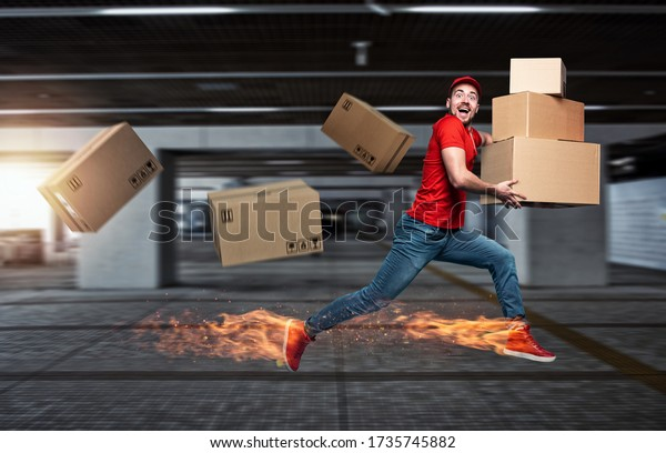 Courier with fiery feet has a lot of boxes to delivery. Emotional expression.