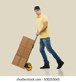 Courier - a handcart packages