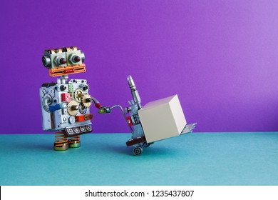 Courier robot moving pushcart with gray box parcel. Purple wall, green floor background. Copy space.
