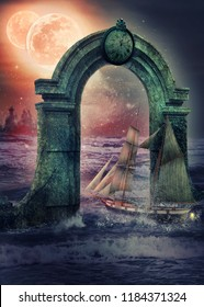 Courier ship speeds to her destination through stormy waters of the alien ocean. She passes the control granite arch covered with patina. Two twin red moons drop reddish light over waves.