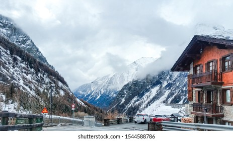 Courmayeur, Aosta valley, Italy - October 29, 2019: Alpine resort at the foot of Mont Blanc. Known for the SkyWay Monte Bianco cable car, offering views of peaks like the Matterhorn and Monte Rosa.