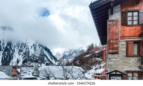 Courmayeur, Aosta valley, Italy -October 31, 2019: Alpine ski resort at the foot of Mont Blanc. Known for the SkyWay Monte Bianco cable car, offering views of peaks like the Matterhorn and Monte Rosa.