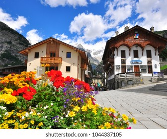 COURMAYEUR, ITALY - JUNE 23: View of the town square in Courmayeur on June 23, 2015. Courmayeur is a resort in Val d'Aosta located in italian Alps.