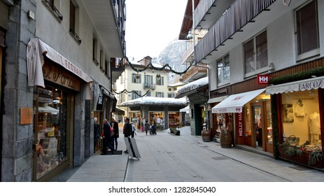 Courmayeur, Italy - March 11, 2014: Old town