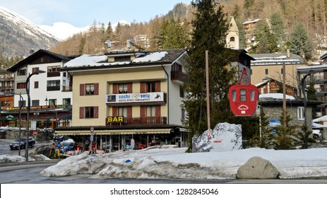 Courmayeur, Italy - March 11, 2014: Street Monte Bianco