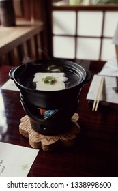 Course of simmering tofu.  One part of a multi-course, traditional Kaiseki meal in Kyoto, Japan
