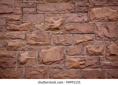 Coursed Sandstone Block Wall Texture