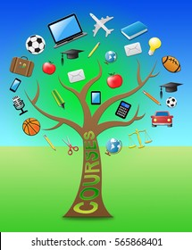 Courses Tree With Icons Indicates Programme And Syllabus 3d Illustration