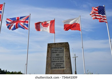 Courseulles; France - july 17 2017 : monument of Charles de Gaulle
