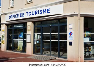 Courseulles sur Mer, France - april 22 2018 : the tourism office