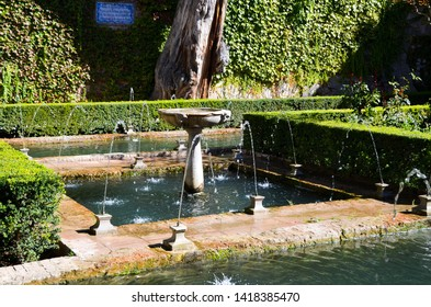 Court of the Sultana's Cypress Tree in Generalife, Granada, Andalusia, Spain