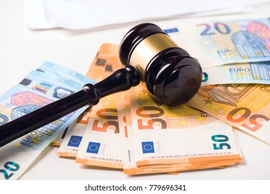 Court Gavel and euro money. Crime and fraud concept