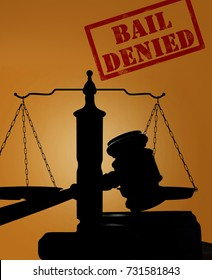 Court gavel and justice scales with Bail Denied text