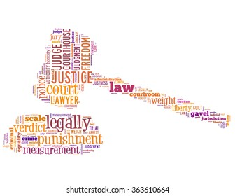 Court gavel and justice, word cloud concept on white background.