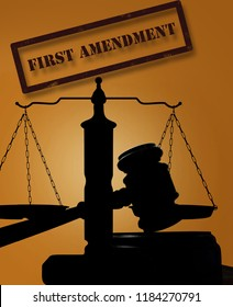 Court gavel and scales with First Amendment stamp