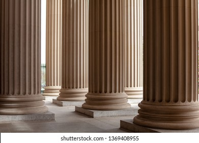 Court house or museum pillars or columns monotone in color and soft ambience