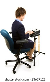 Court reporter typing on her stenography machine.  Full body isolated on white.