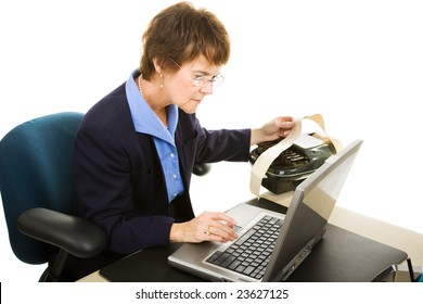 Court reporter typing up the court transcript on her laptop computer.  Isolated on white.
