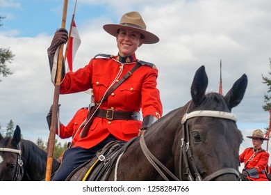 Courtenay~Vancouver Island, BC, Canada Aug 25th 2018 RCMP Musical Ride performing at The Comox Valley Exchibition in Courtenay on Vancouver Island in British Columbia, Canada