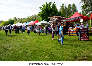 Courtenay~Vancouver Island, BC, Canada, June 3 2017 Comox Valley Farmers Market held Saturdays at the Comox Valley Exhibition Grounds ~Vancouver Island, BC, Canada