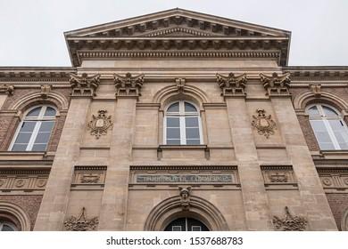 The Courthouse of Amiens (Palais de Justice, 1868 - 1880) in city center of Amiens, Somme department, Picardie, France. Commercial Court {Tribunal de commerce} Labour Court {Conseil des prud hommes}.