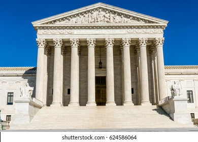 The courthouse steps leading to the entrance of the United States Supreme Court Building in Washington DC.