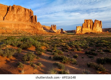 Courthouse Towers panorama in Arches National Park, Utah. From right to left: The Organ, Tower of Babel, Sheep Rock (in shadow), the Three Gossips.