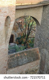 Courtyard of ancient fortress in Vignola, Italy