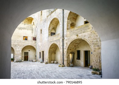 Courtyard of Aragonese castle in Otranto which is used as museum, Apulia, Italy