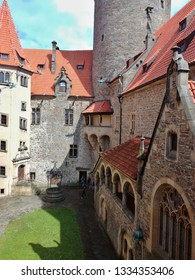 Courtyard and architecture of the popular tourist castle Bouzov in the Czech Republic.