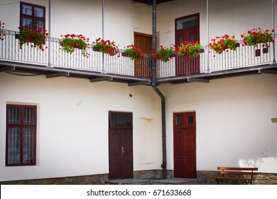 Courtyard, balconies with flowers