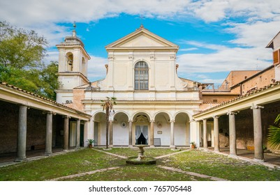 Courtyard of the Basilica of San Clemente al Laterano in Rome, Italy. November-21-2017
