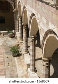 Courtyard at Basilica of St. Francis in Assisi, Italy